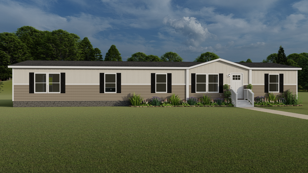 The EVEREST with clay Southern Ranch Exterior. This Manufactured Mobile Home features 4 bedrooms and 2 baths.
