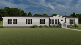 The EVEREST with white Southern Ranch Exterior. This Manufactured Mobile Home features 4 bedrooms and 2 baths.