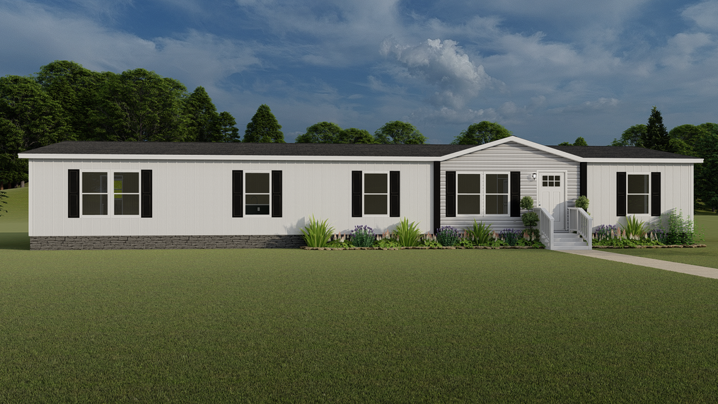 The EVEREST with white Colonial Exterior. This Manufactured Mobile Home features 4 bedrooms and 2 baths.