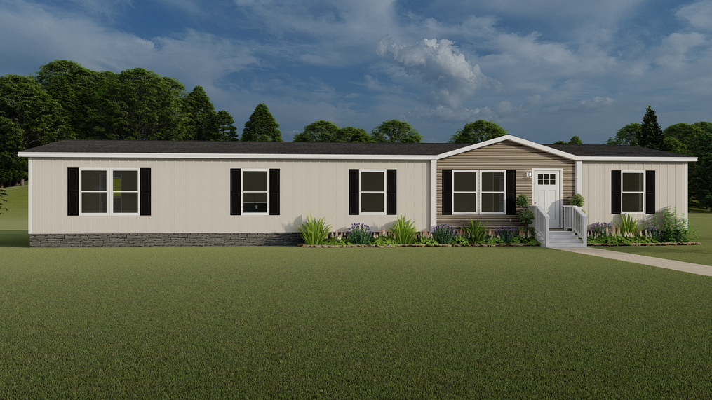 The EVEREST with clay Colonial Exterior. This Manufactured Mobile Home features 4 bedrooms and 2 baths.