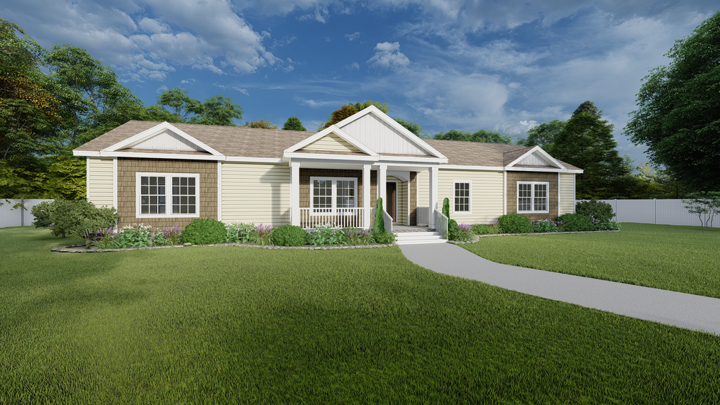 The 3328 CLASSIC Exterior. This Modular Home features 4 bedrooms and 2 baths.