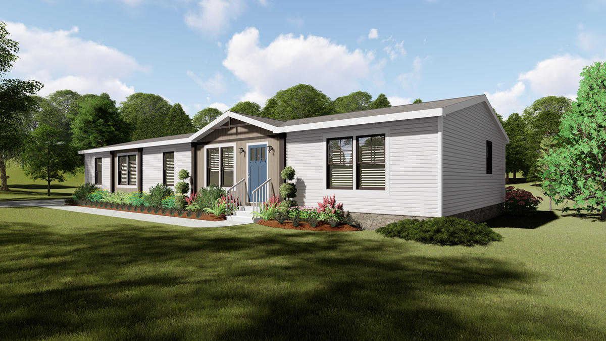 The AMELIA Exterior. This Manufactured Mobile Home features 4 bedrooms and 2 baths.