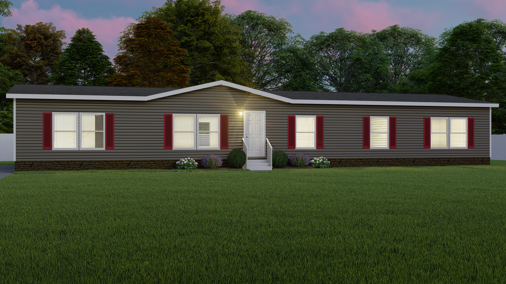 The THE HOLCOMB Exterior. This Manufactured Mobile Home features 4 bedrooms and 2 baths.