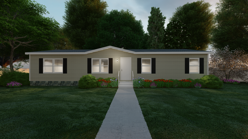 The MARVEL Exterior. This Manufactured Mobile Home features 4 bedrooms and 2 baths.
