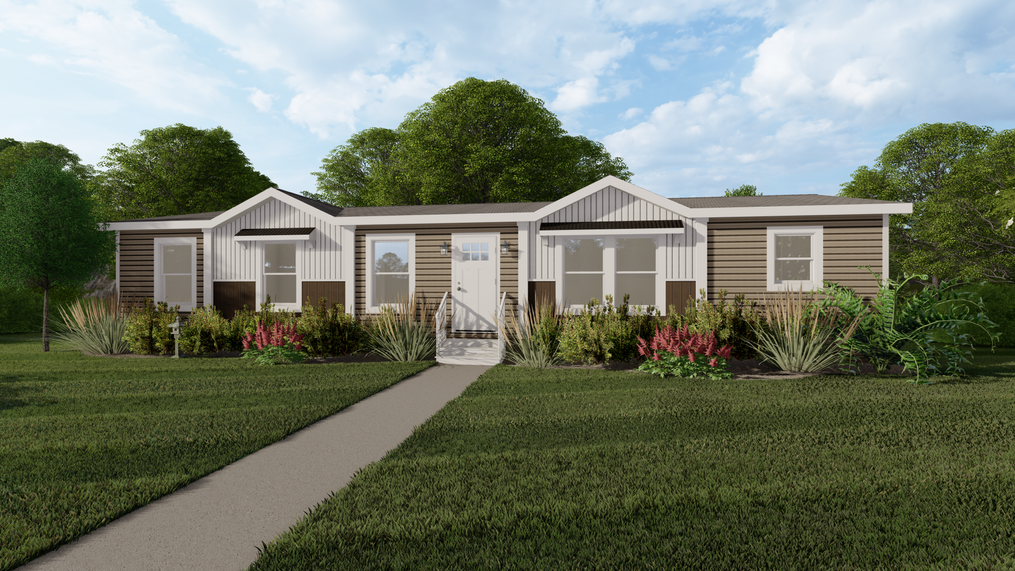 The BREEZE FARMHOUSE Exterior. This Manufactured Mobile Home features 3 bedrooms and 2 baths.