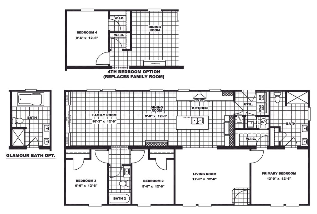 The CLASSIC 56D Floor Plan. This Manufactured Mobile Home features 3 bedrooms and 2 baths.
