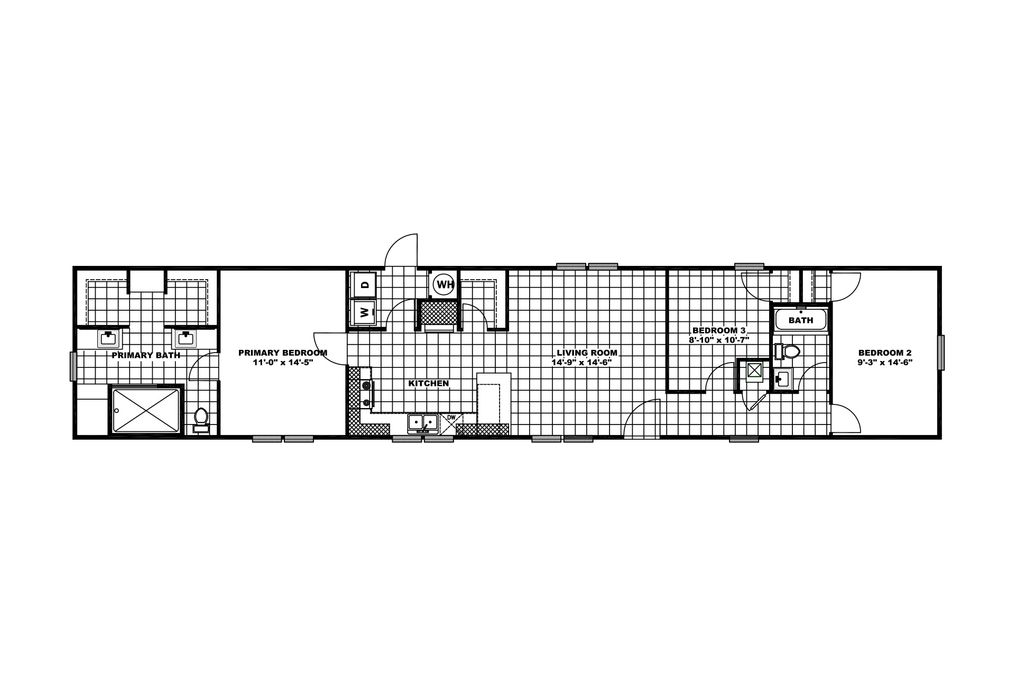 The THE 1959 Floor Plan. This Manufactured Mobile Home features 3 bedrooms and 2 baths.