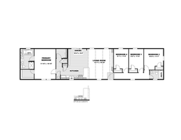 The THE ANNIVERSARY 18 4 BR Floor Plan. This Manufactured Mobile Home features 4 bedrooms and 2 baths.