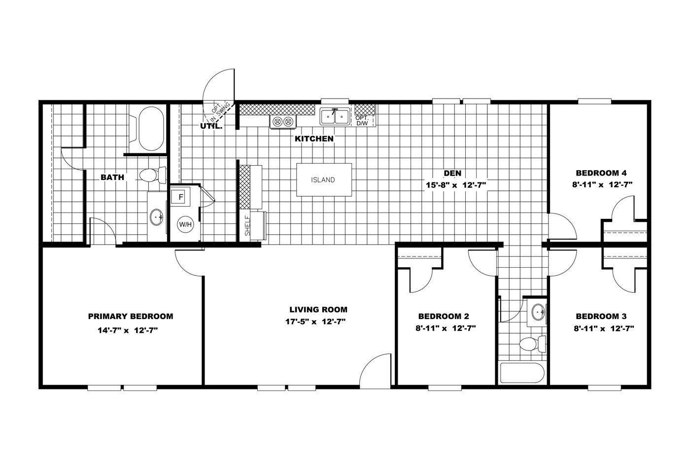 The MARVEL Floor Plan. This Manufactured Mobile Home features 4 bedrooms and 2 baths.