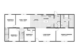 The PRIDE Floor Plan. This Manufactured Mobile Home features 4 bedrooms and 2 baths.