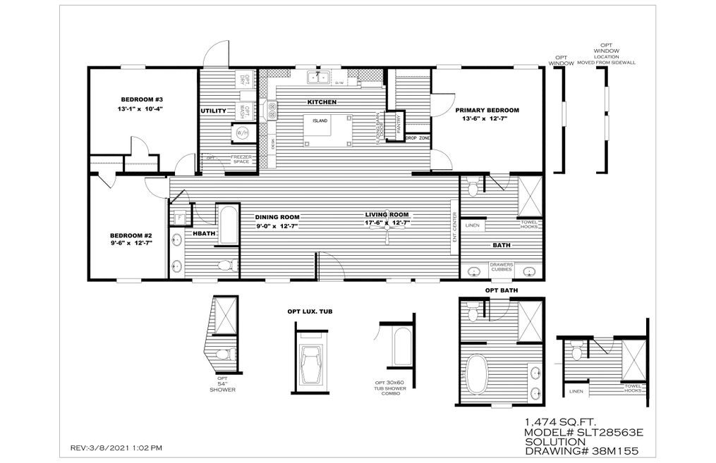 The BREEZE FARMHOUSE Floor Plan. This Manufactured Mobile Home features 3 bedrooms and 2 baths.