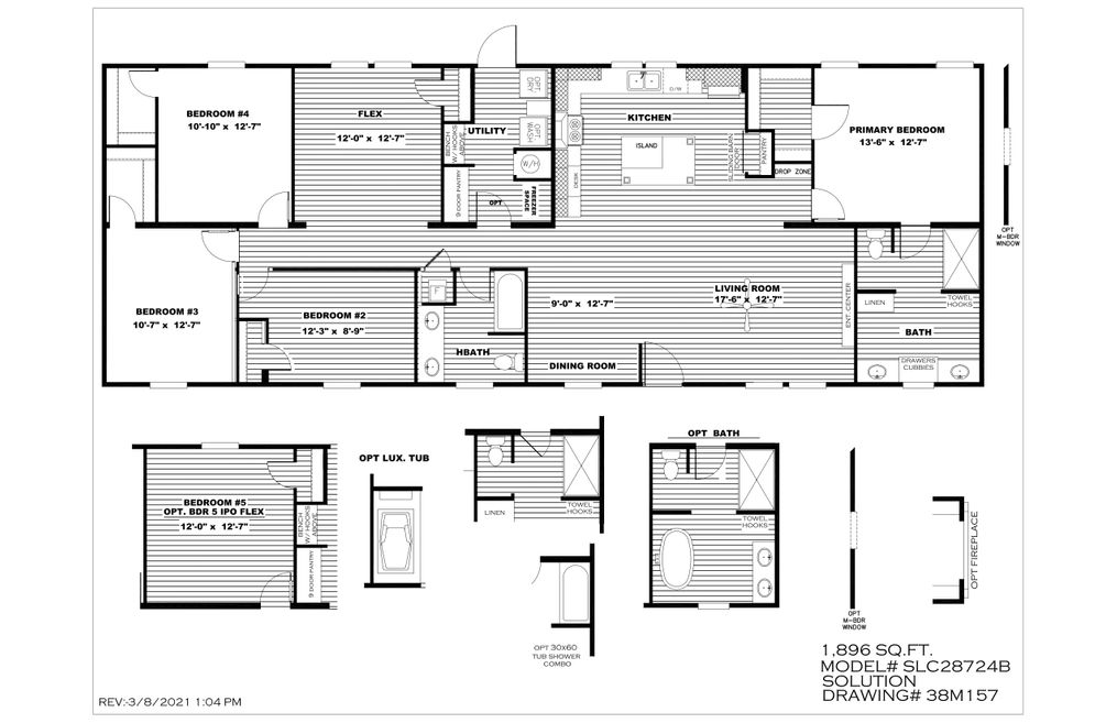 The BREEZE FARMHOUSE 72 Floor Plan. This Manufactured Mobile Home features 4 bedrooms and 2 baths.