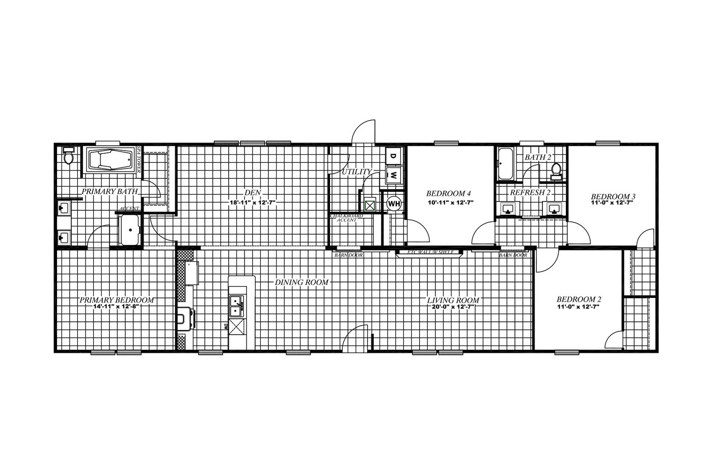 The THE BREEZE II Floor Plan. This Manufactured Mobile Home features 4 bedrooms and 2 baths.