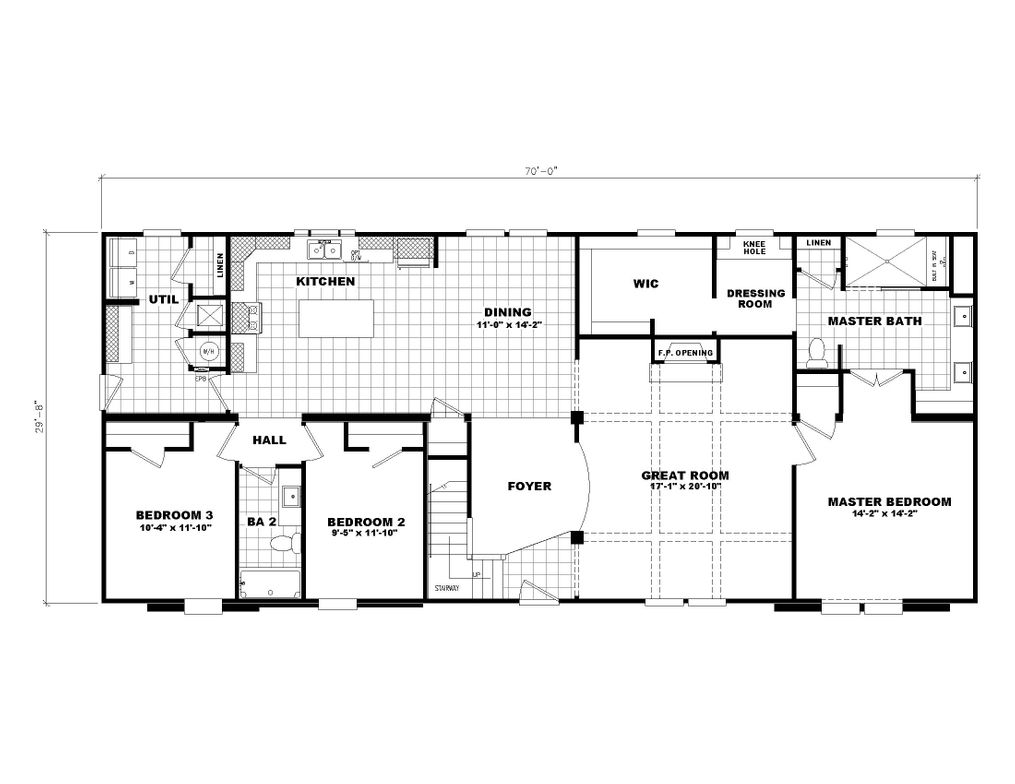 The 3549 JAMESTOWN Floor Plan. This Modular Home features 3 bedrooms and 2 baths.