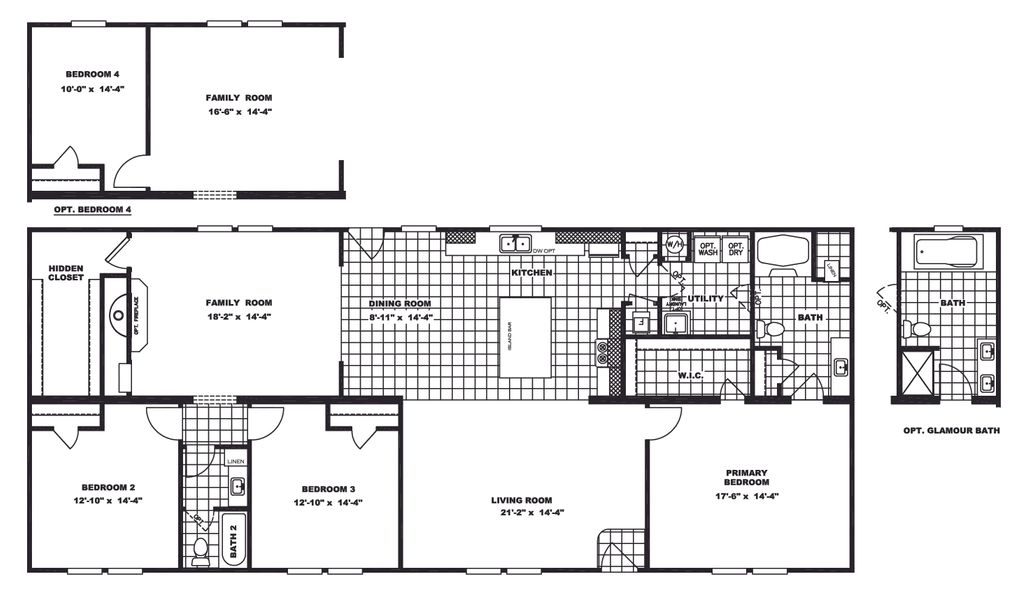 The TAHOE 3272A Floor Plan. This Manufactured Mobile Home features 3 bedrooms and 2 baths.