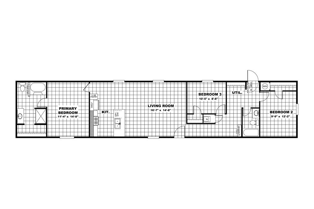 The VICTORY PLUS Floor Plan. This Manufactured Mobile Home features 3 bedrooms and 2 baths.