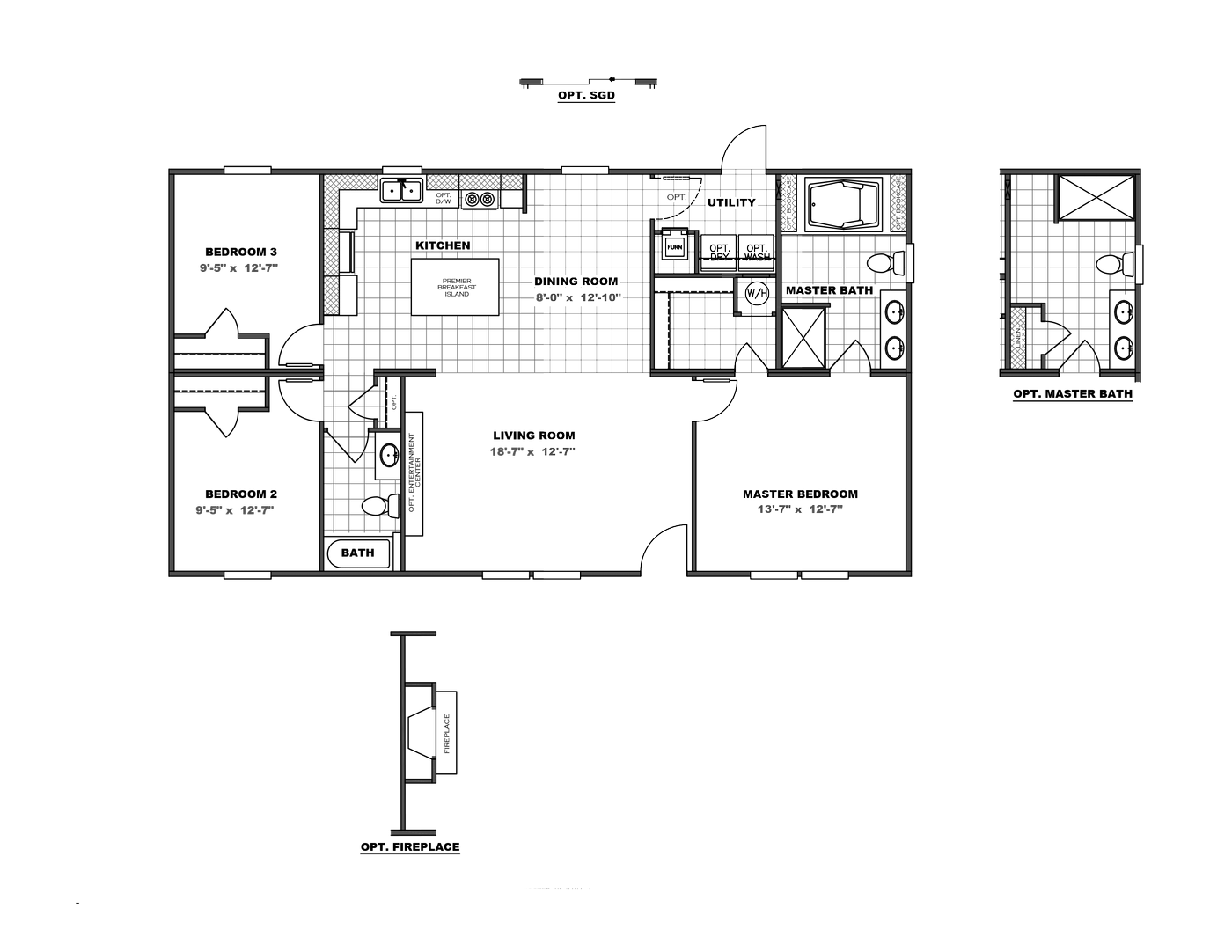 The TRADITION 48 Floor Plan. This Manufactured Mobile Home features 3 bedrooms and 2 baths.