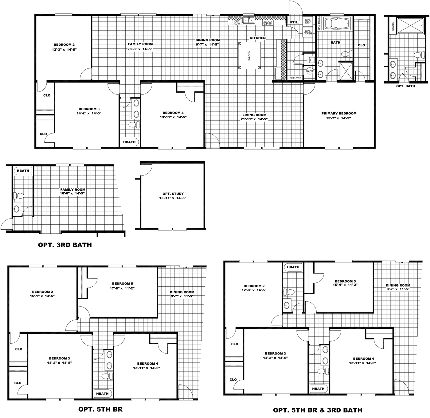 The ULTRA PRO BIG BOY Floor Plan. This Manufactured Mobile Home features 4 bedrooms and 2 baths.