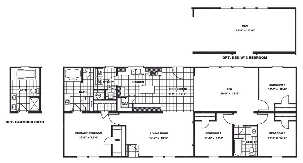 The SANTA FE 684A Floor Plan. This Manufactured Mobile Home features 4 bedrooms and 2 baths.