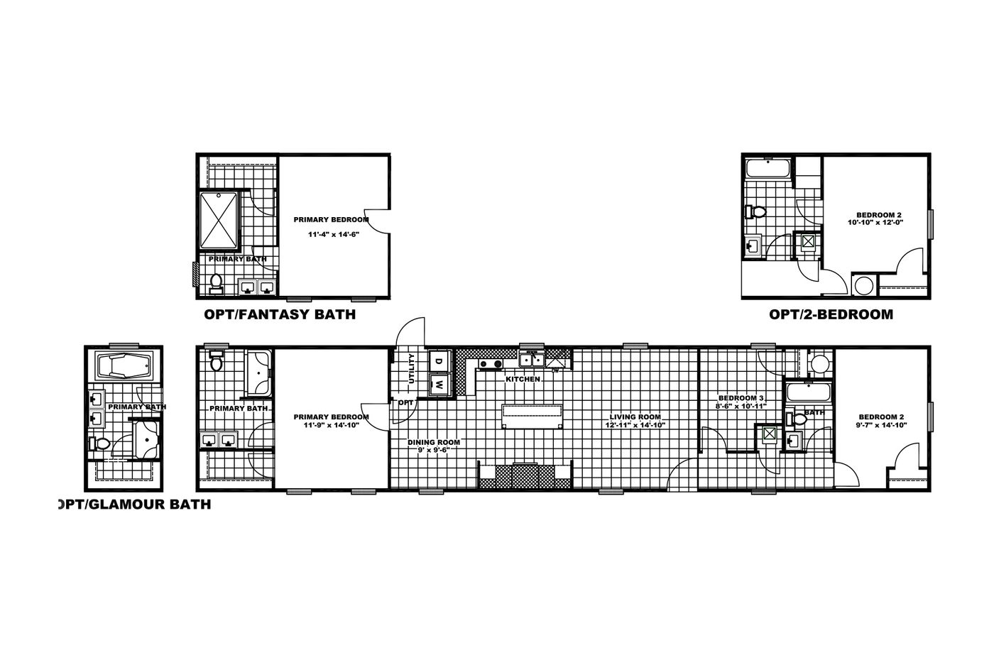 The REVOLUTION 76B Floor Plan. This Manufactured Mobile Home features 3 bedrooms and 2 baths.