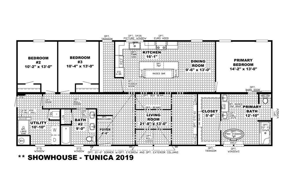 The THE SHORELINE Floor Plan. This Manufactured Mobile Home features 3 bedrooms and 2 baths.
