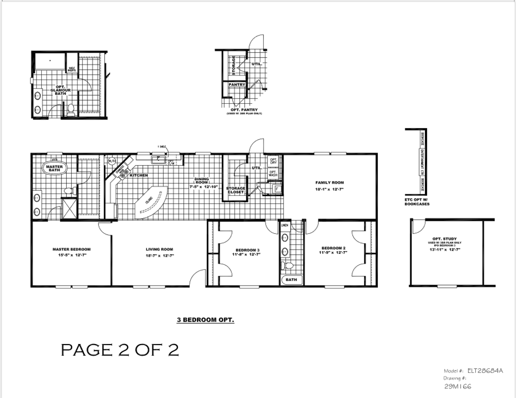 The ELITE ZEUS 28X68 Floor Plan. This Manufactured Mobile Home features 4 bedrooms and 2 baths.
