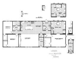 The THE JACKSON Floor Plan. This Manufactured Mobile Home features 3 bedrooms and 2 baths.