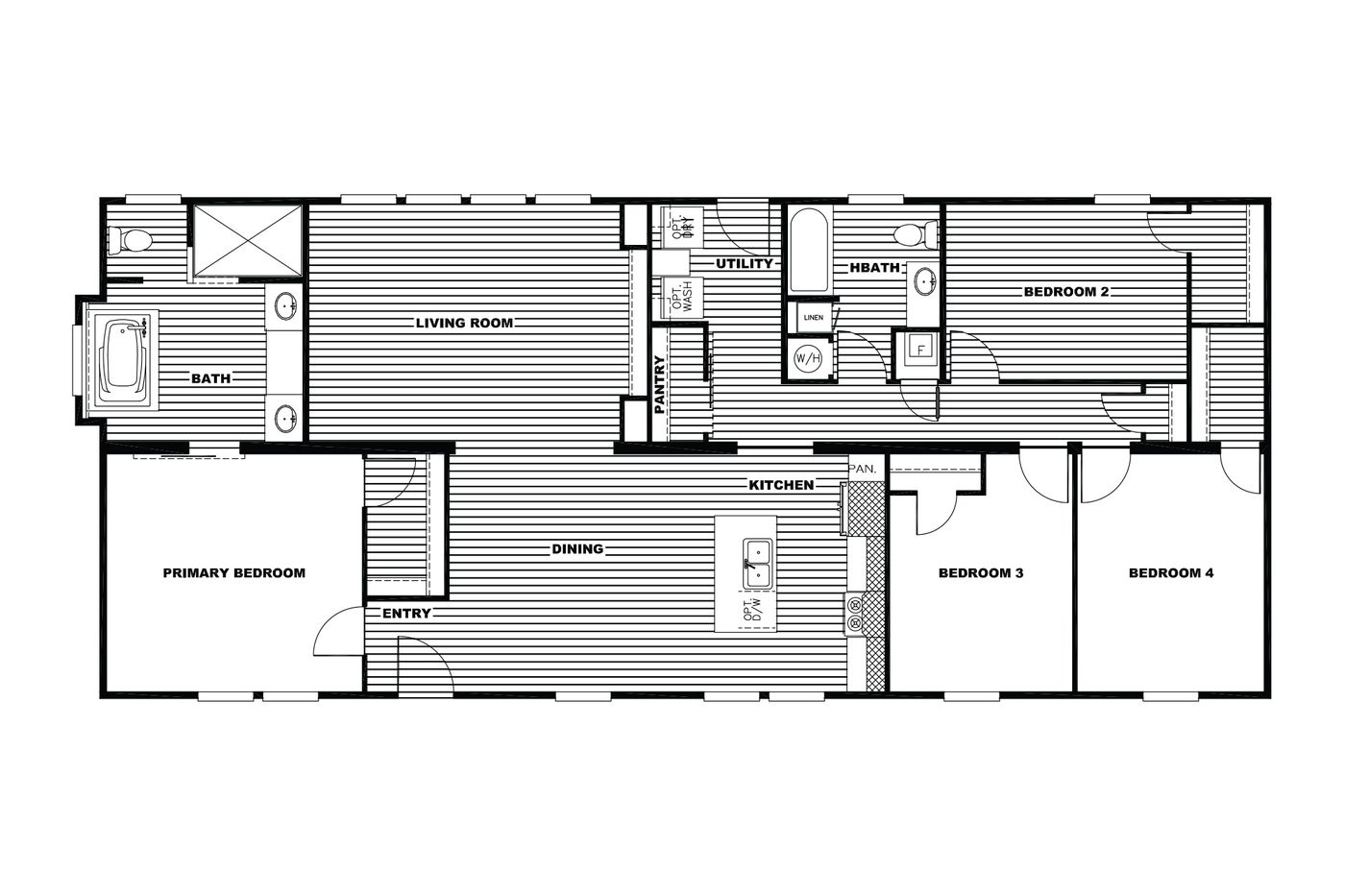 The THE FRANKLIN XL Floor Plan. This Manufactured Mobile Home features 4 bedrooms and 2 baths.