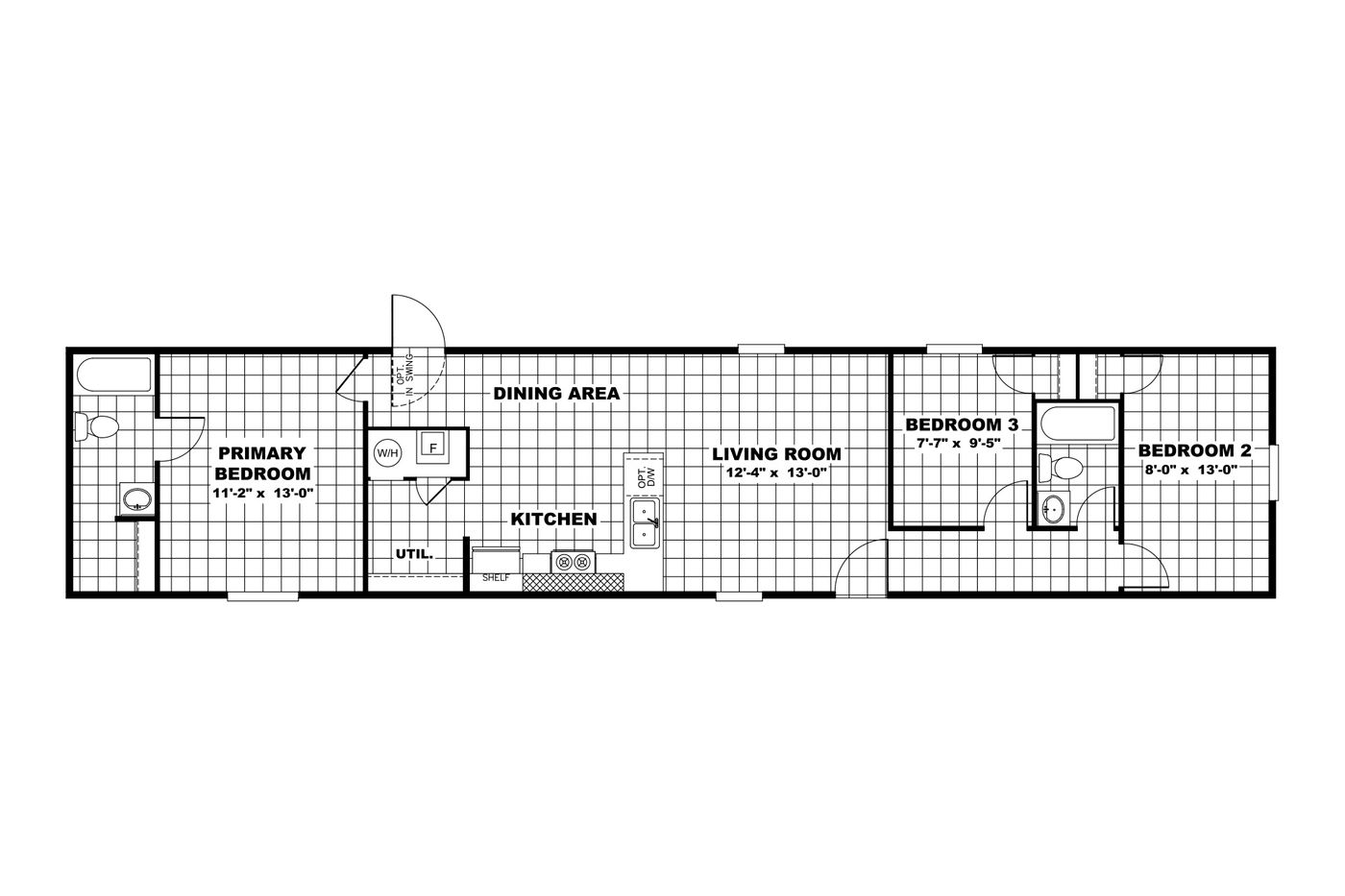 The ELATION Floor Plan. This Manufactured Mobile Home features 3 bedrooms and 2 baths.