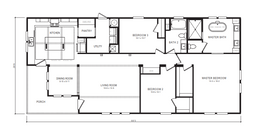 "The 1434 CAROLINA ""SOUTHERN BELLE"" Floor Plan. This Manufactured Mobile Home features 3 bedrooms and 2 baths."