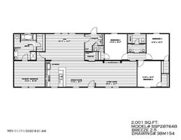 The THE BREEZE 2.5 Floor Plan. This Manufactured Mobile Home features 4 bedrooms and 2 baths.