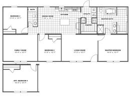 The THE EAGLE 60 Floor Plan. This Manufactured Mobile Home features 3 bedrooms and 2 baths.