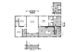 The CMB32663C                      Floor Plan. This Modular Home features 3 bedrooms and 2 baths.