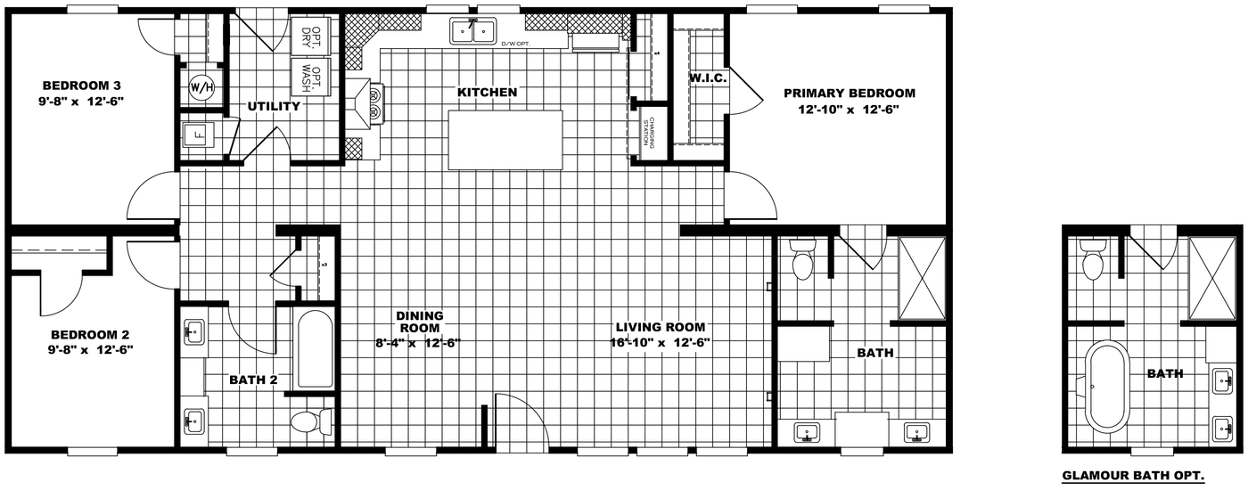 The THE BREEZE Floor Plan. This Manufactured Mobile Home features 3 bedrooms and 2 baths.