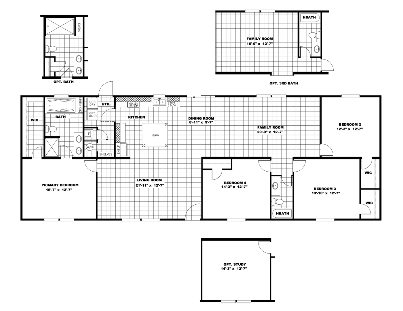 The ULTRA PRO 76 Floor Plan. This Manufactured Mobile Home features 4 bedrooms and 2 baths.