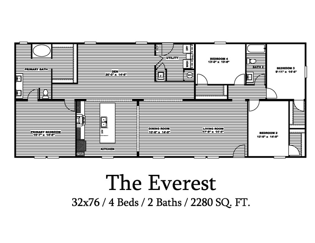 The EVEREST Floor Plan. This Manufactured Mobile Home features 4 bedrooms and 2 baths.