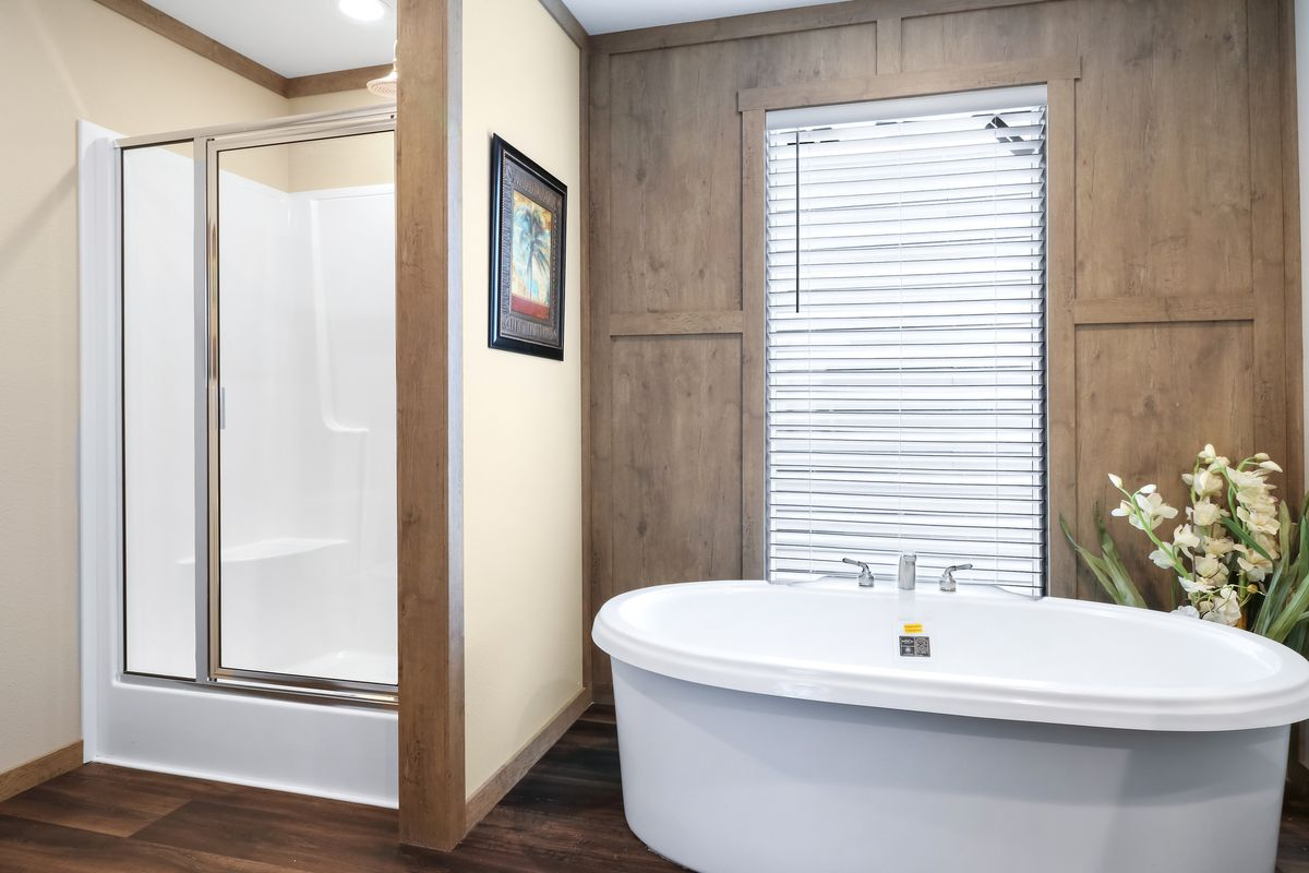 The AMELIA Master Bathroom. This Manufactured Mobile Home features 4 bedrooms and 2 baths.