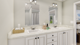 The 101  ADVANTAGE PLUS 7616 Master Bathroom. This Manufactured Mobile Home features 3 bedrooms and 2 baths.