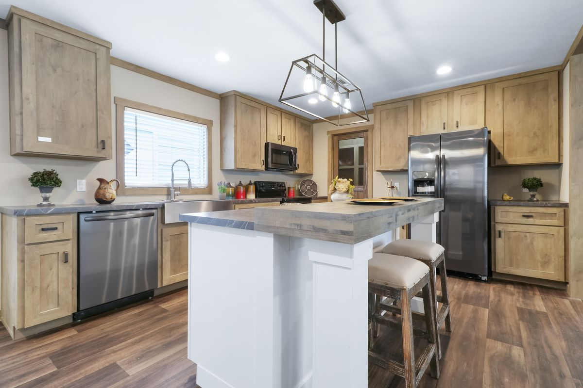 The AMELIA Kitchen. This Manufactured Mobile Home features 4 bedrooms and 2 baths.