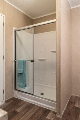 The THE EAGLE 60 Master Bathroom. This Manufactured Mobile Home features 3 bedrooms and 2 baths.