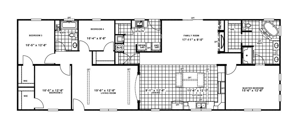 The CHAMBORD Floor Plan. This Manufactured Mobile Home features 4 bedrooms and 2 baths.