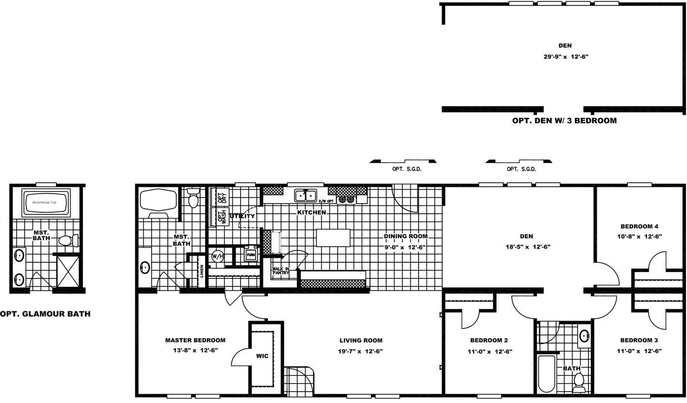 The RANGER 68A Floor Plan. This Manufactured Mobile Home features 4 bedrooms and 2 baths.