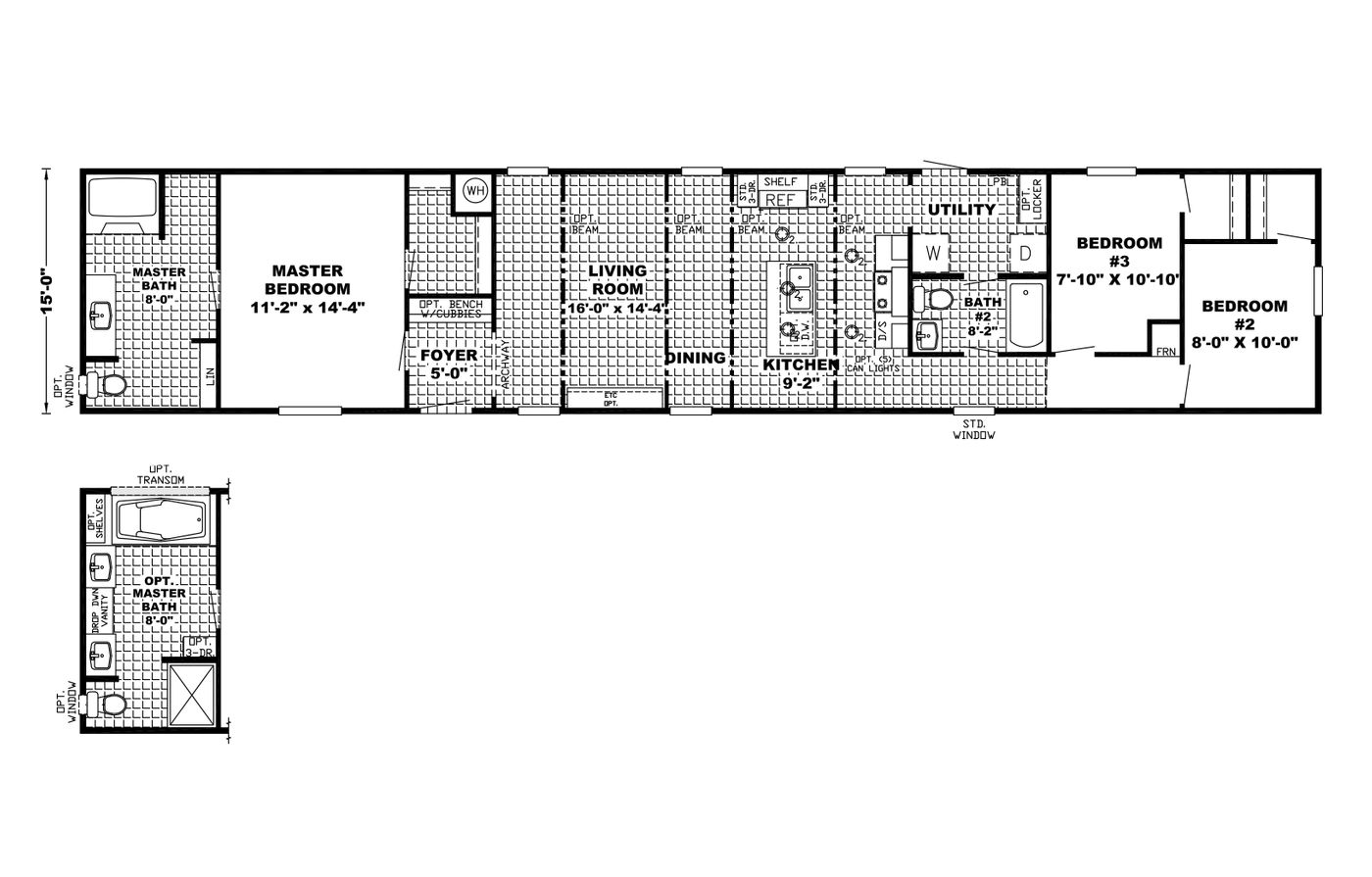 The Parkside 16x82 Floorplan