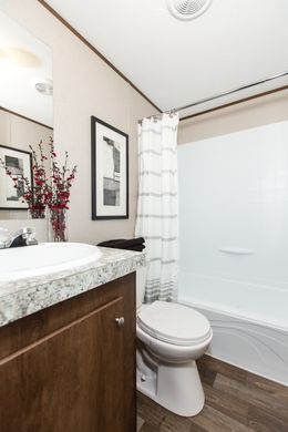 The ELATION Guest Bathroom. This Manufactured Mobile Home features 3 bedrooms and 2 baths.