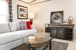 The ELATION Living Room. This Manufactured Mobile Home features 3 bedrooms and 2 baths.